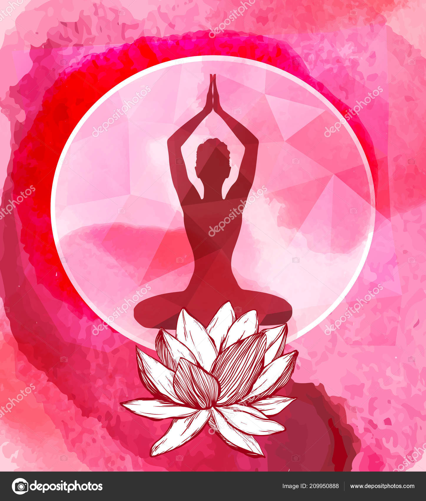 Fiori Yoga.Lotus Flower And Female Silhouette Above It Yoga Logo Emblem