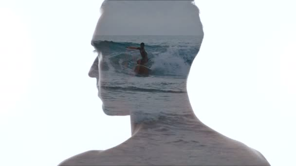Portrait of pensive man and sea waves - Double exposition