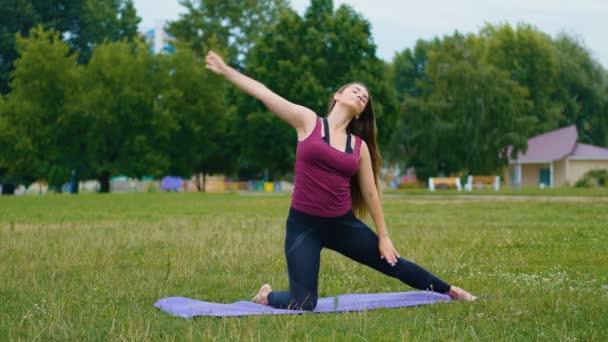 Mladá krásná žena trénuje jóga venku. Wellness koncept. Klid a klid, Žena štěstí.