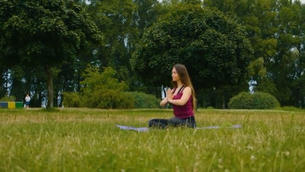 Fiatal szép nő meditál során szabadtéri edzés a nyári parkban érzi a békét. Sportos lány csinál jóga kültéri reggel. Lassított mozgás