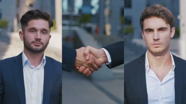 Koláž portrétů sebevědomá podnikatelé si navzájem potřásli rukou. Podání ruky a úspěšný koncept obchodní koupě. Obchodní lidé v klasických oblecích.