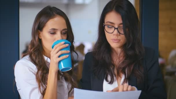 Two Young Businesswomen Confident managers discussing documents in office background. Female colleagues share ideas enjoy conversation discussing team project at meeting.