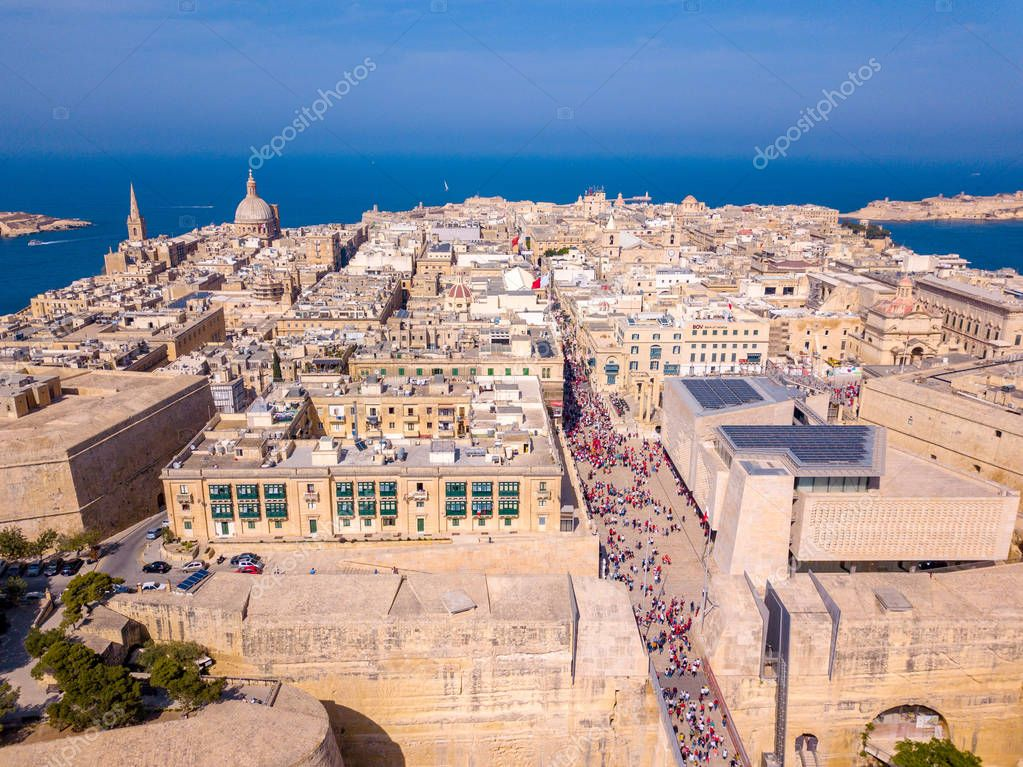 Ancient capital city of Valletta Malta. Island Country of Europe in the Mediterranean Sea