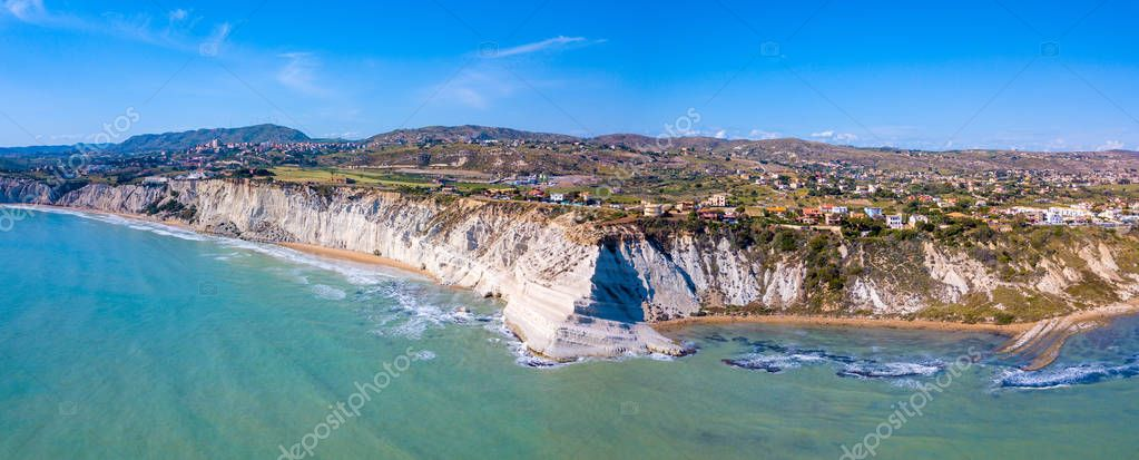 Aerial view Turkish Staircase on Sicily, Italy. Beautiful white cliffs by the sea in Italy.