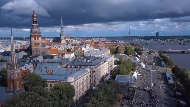 Aerial view of the Riga old town celebrating