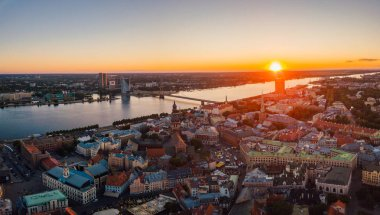 June 22, 2018. Riga, Latvia. Beautiful aerial view of Riga city view at the sunset while celebrating