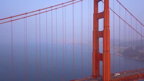 beautiful aerial Golden Gate Bridge view from above over the bay in San Francisco