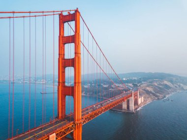 Aerial view of the San Francisco Golden Gate bridge. Beautiful close up shots. stock vector