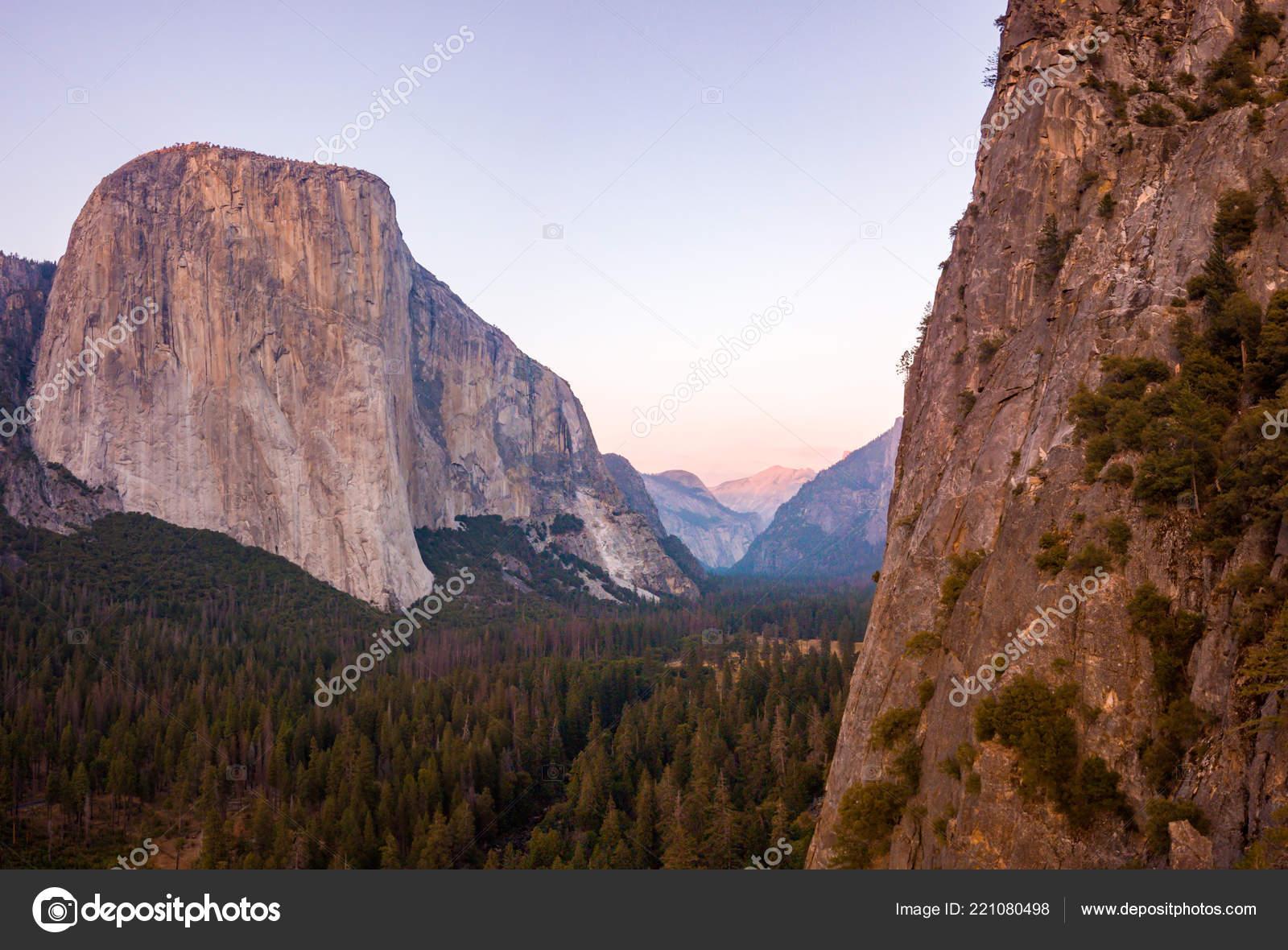 Aerial Sunset View Capitan Half Dome Cliff Yosemite National