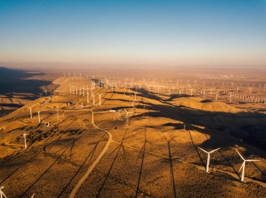 Wind turbine farm from aerial view. Sustainable development, environment friendly of wind turbines by giving renewable, sustainable, alternative energy in Nevada, USA.