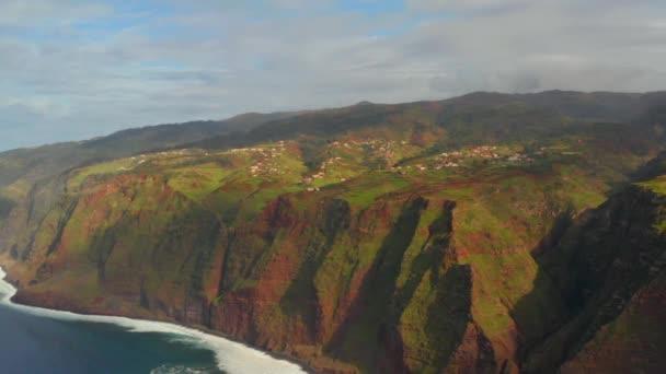 Coastline with ocean and rocks near remote island in Atlantic ocean