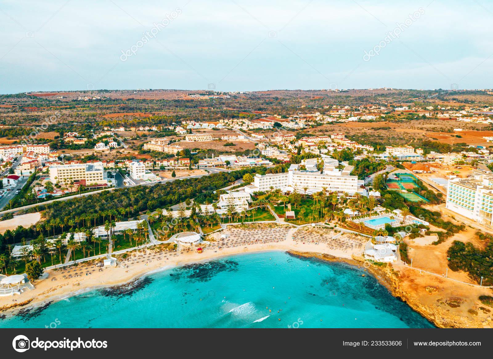 Nissi Beach Ayia Napa Clean Aerial Photo Famous Tourist