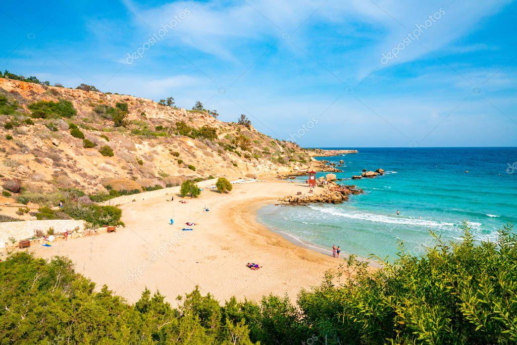 Aerial view of the Cyprus island coastline. Beautiful nature.