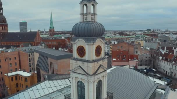 Panoramic aerial view of Riga old town during winter Christmas day in Latvia