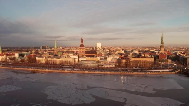 Beautiful aerial view of the Riga old town during sunset or sunrise during sunny winter day in Latvia. Amazing Riga.