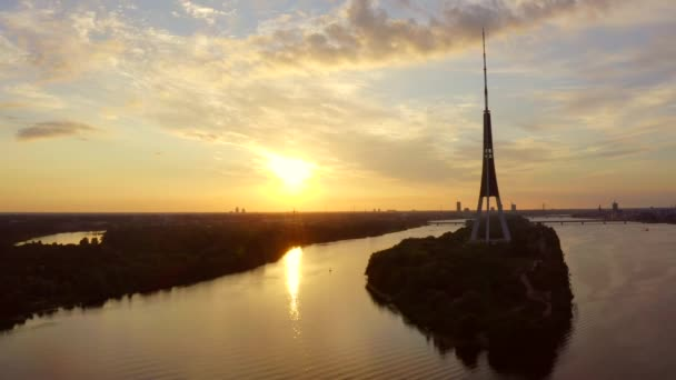 Riga, Latvia, July 30, 2020. Amazing sunset view of Riga Radio and TV Tower, Latvia. View from above.