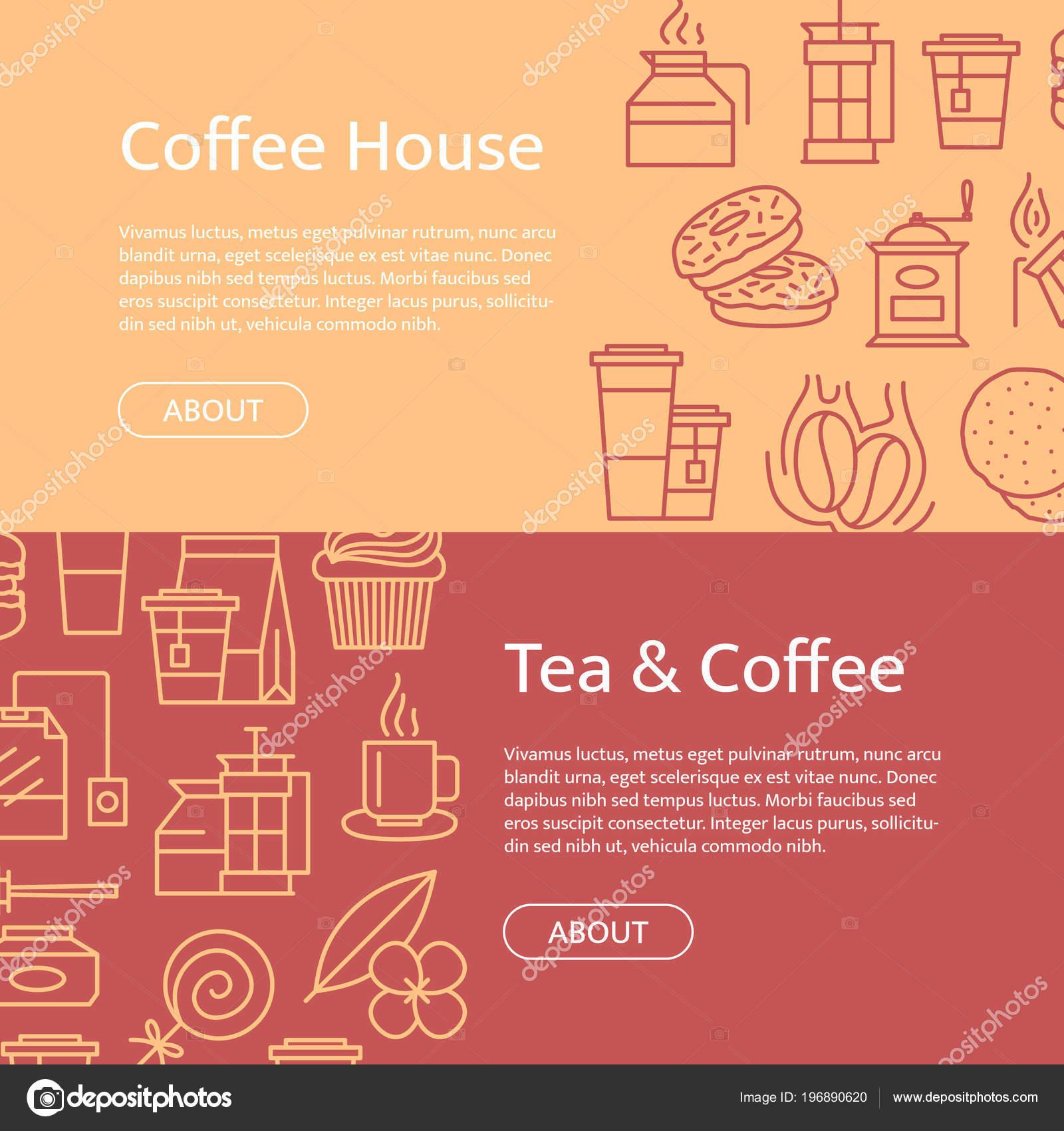 Vector té y café los iconos lineal horizontal web banner plantillas ...