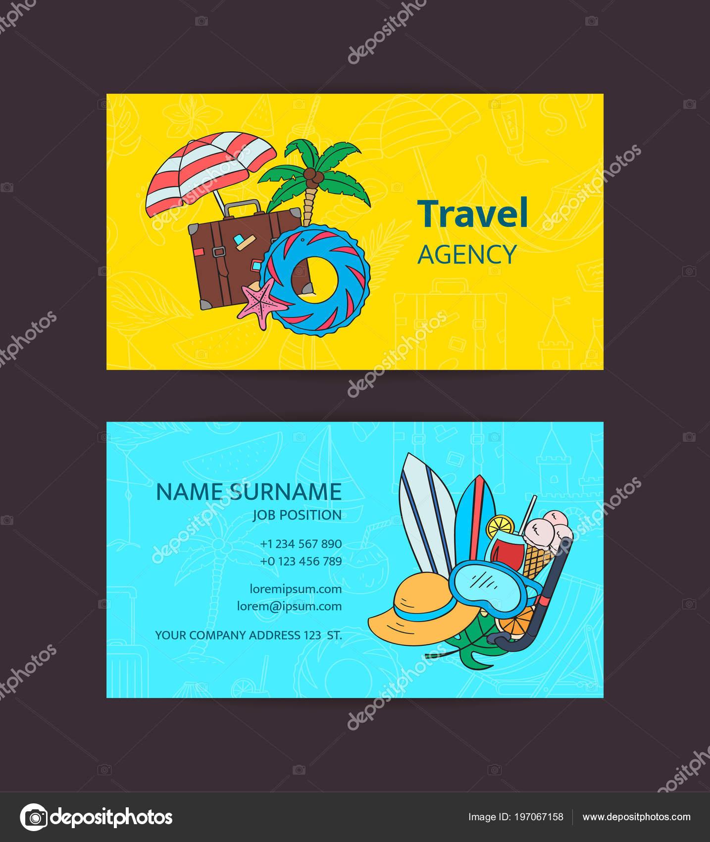 Voyage Estival Vecteur Doodle Elements Carte De Visite Modele Illustration Pour Agence Ou Plage Accessoires Boutique Stock