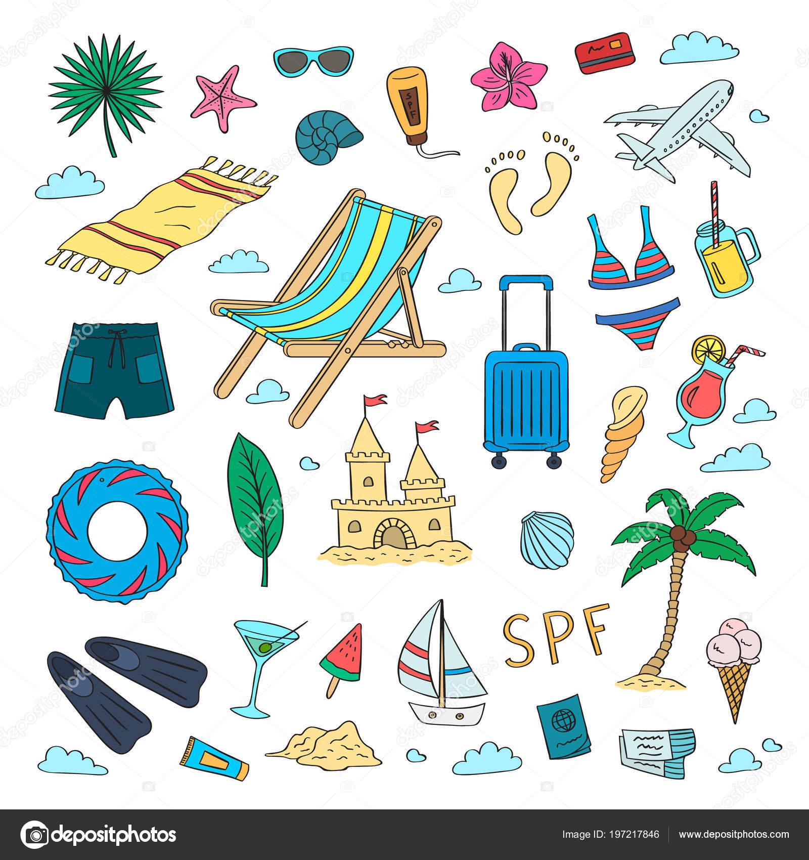 conjunto de mano dibuja objetos de playa color viaje de verano