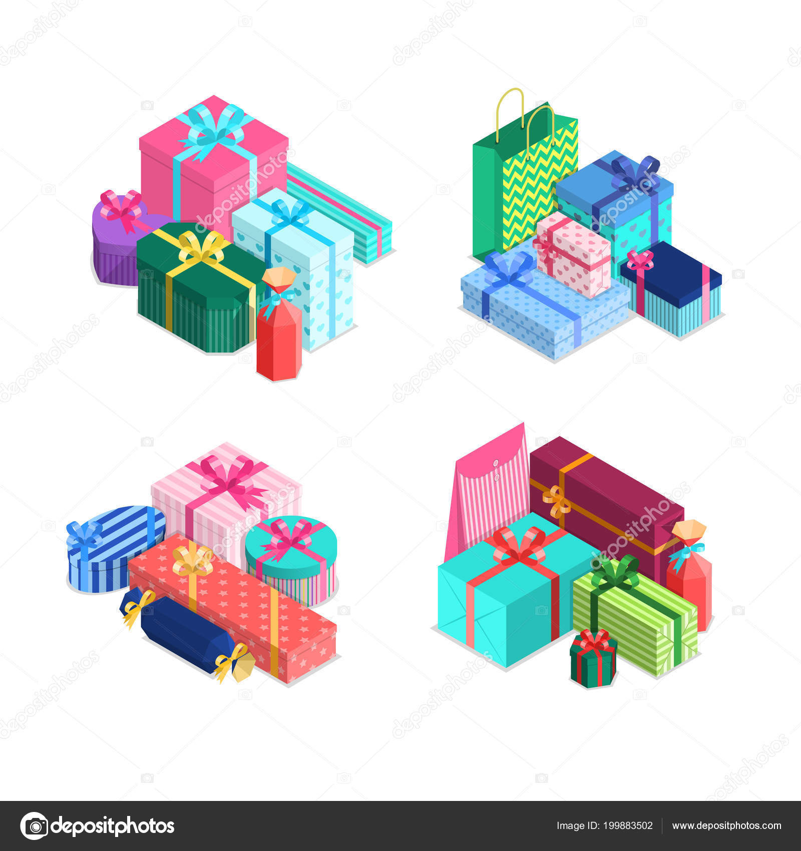 Vector Isometric Gift Boxes Piles With Ribbons And Bows In