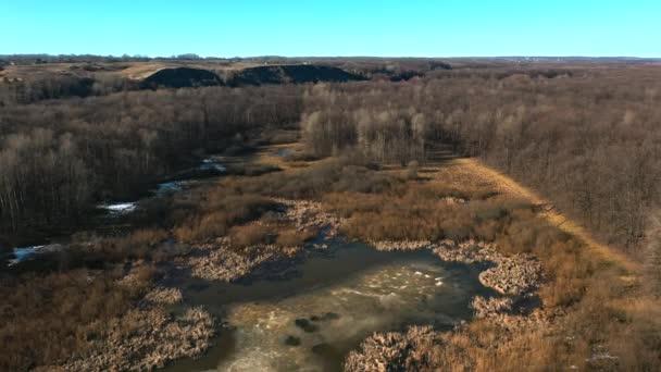 Vzdušný panoramatický Panorama lesa a jezera v hnědých barvách na podzim. Ruská krajina