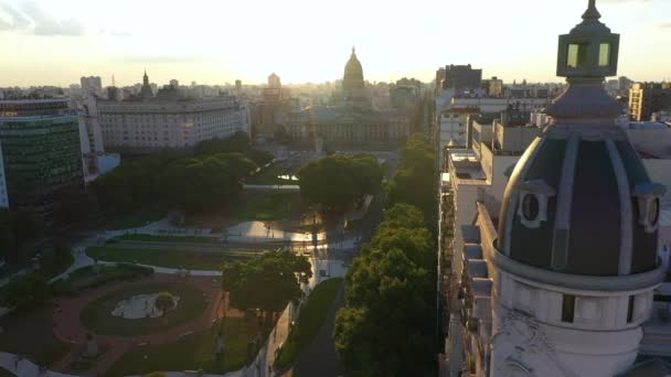 Aerial drone view of the National Congress of Argentina during sunset. Buenos Aires