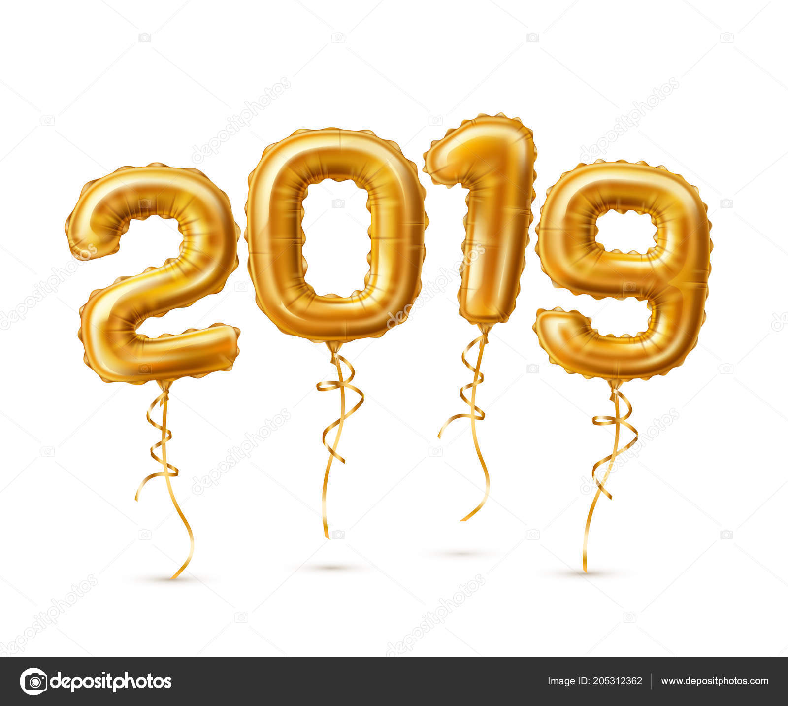 realistic 2019 golden air balloons new year stock vector