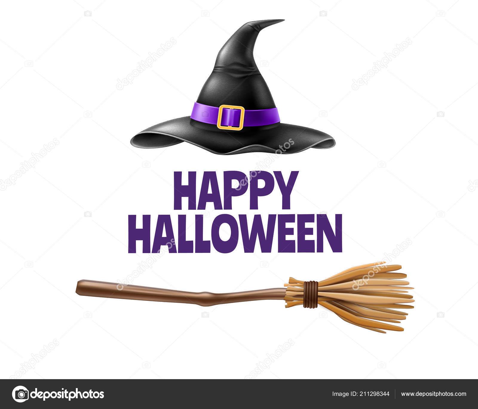 Manifesto di vacanza di halloween di vettore con iscrizione felice di  halloween con la strega realistica punta cappello 023b7c42c75f