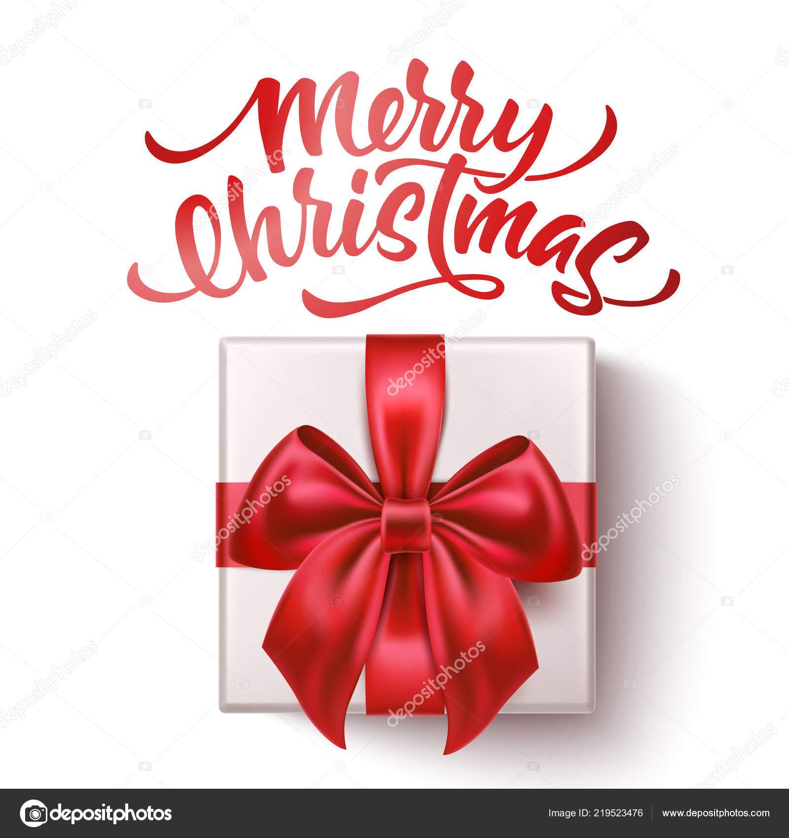 Frohe Weihnachten Band.Vektor Frohe Weihnachten Schriftzug Mit Bogen Band Stockvektor