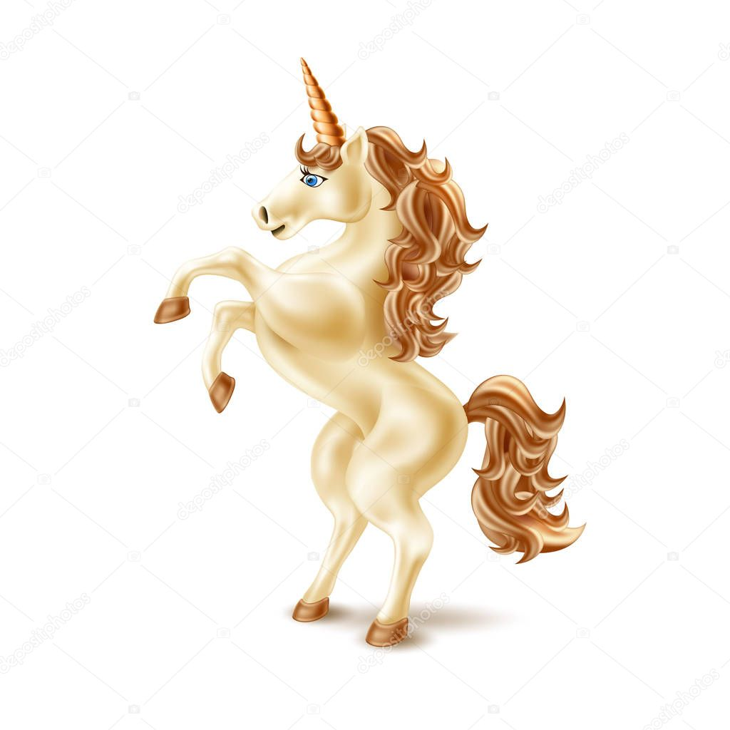 Vector Realistic Unicorn Golden Reared Magic Horse With Golden Horn Fantasy Mythical Creature With Fluffy Mane Kids Imagination Fairytale Animal On Isolated Background Premium Vector In Adobe Illustrator Ai Ai
