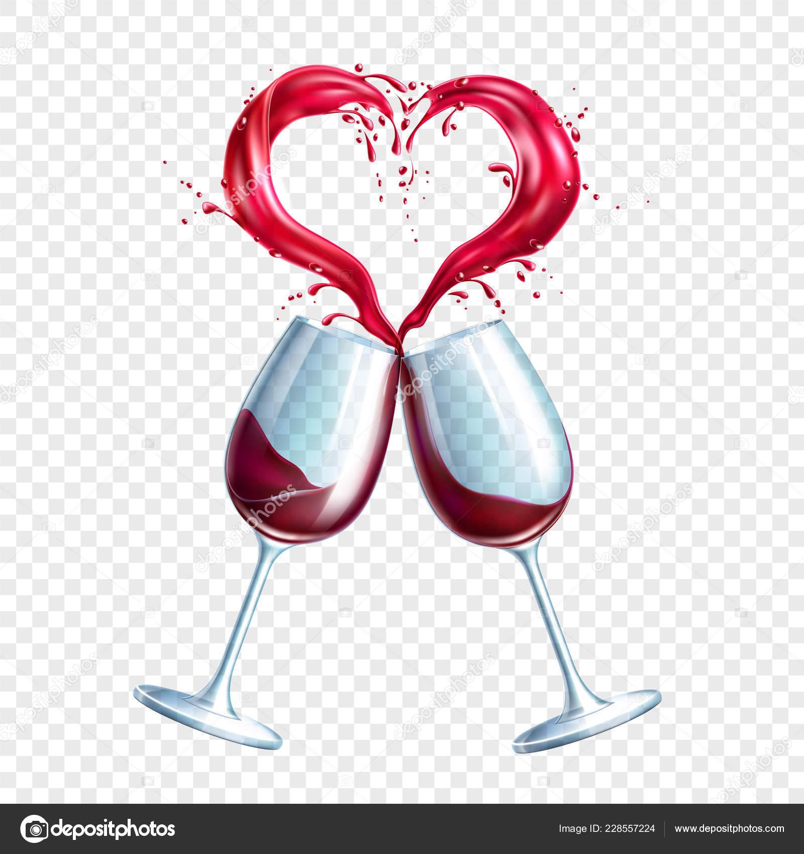 4143ec3d56 Vector wine glasses toasting heart shape splash — Stock Vector ...