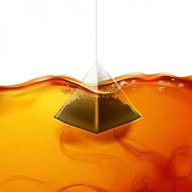 Vector realistic pyramid teabag dipped into water