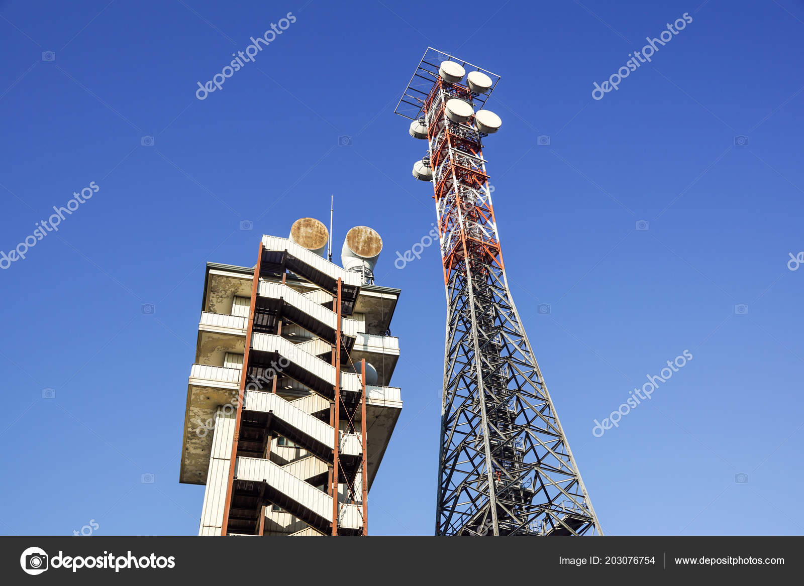 Telecommunication tower with the blue sky  Cell Phone Signal