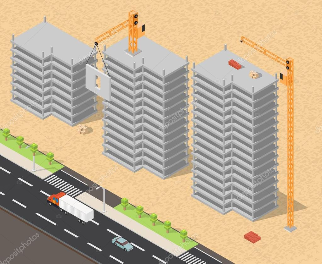 Isometric low poly of construction buildings elements background
