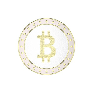 Cryptocurrency bitcoin. Isolated on white background.3D rendering illustration. Top view.