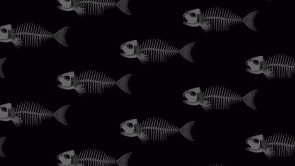 Stěhování rybí kostry na černém pozadí. Bezešvá smyčka animace.