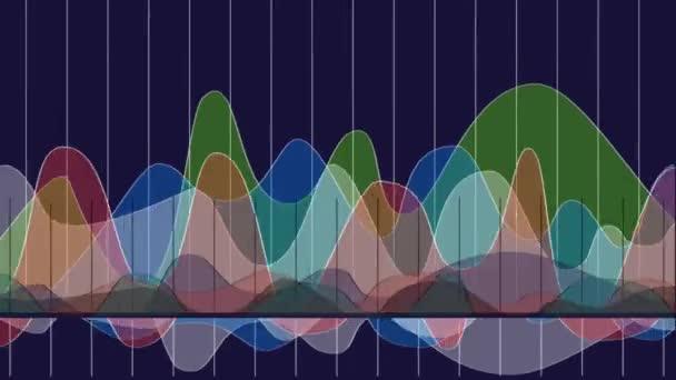 Přesunování spojnicový graf. Abstraktní barevná animace.