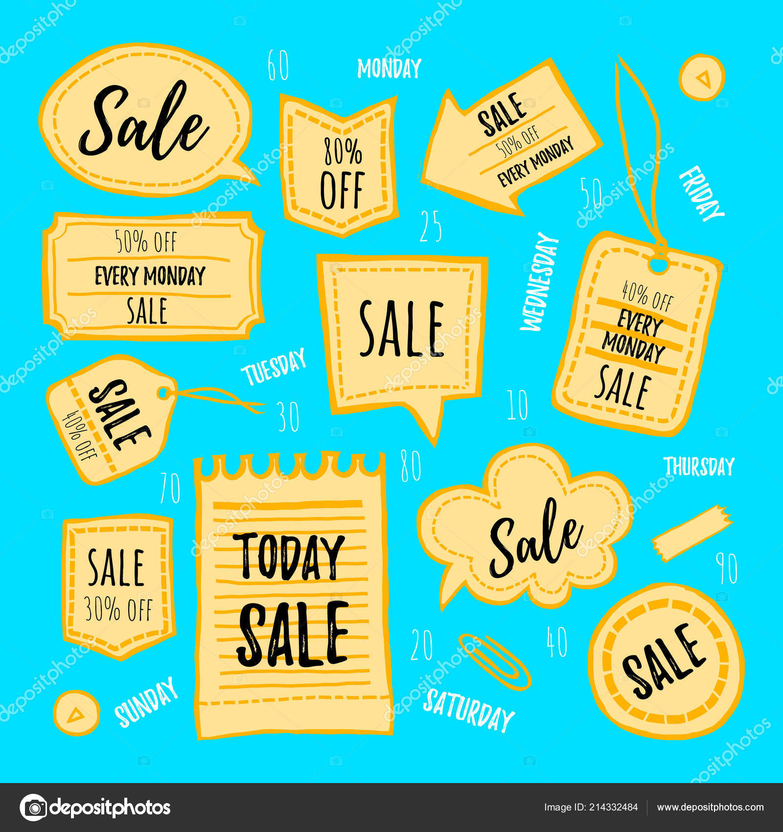 Hand drawn stickers labels vector set rough style sale decoration stock vector