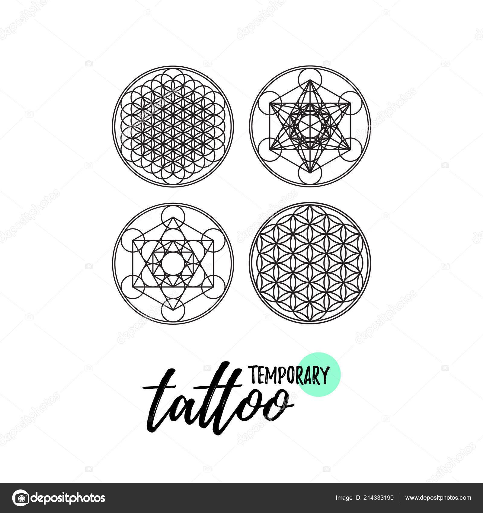 Diseño Tatuaje Temporal Geometría Sagrada Ornment Flor Vida Vector