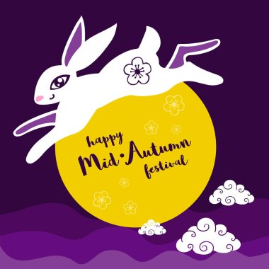 Vintage Mid Autumn Festival poster design with the rabbit character.