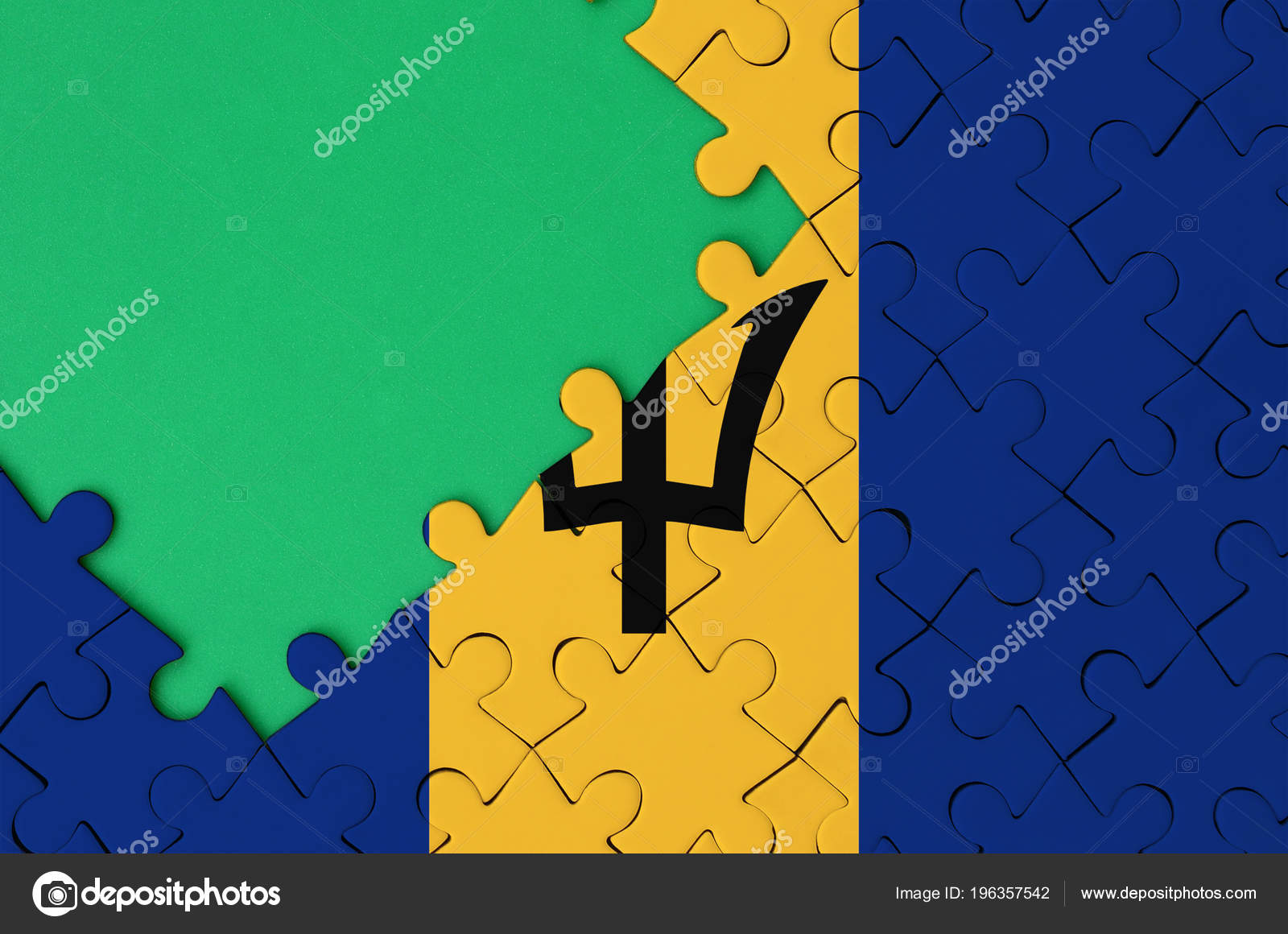 barbados flag depicted completed jigsaw puzzle free green copy space