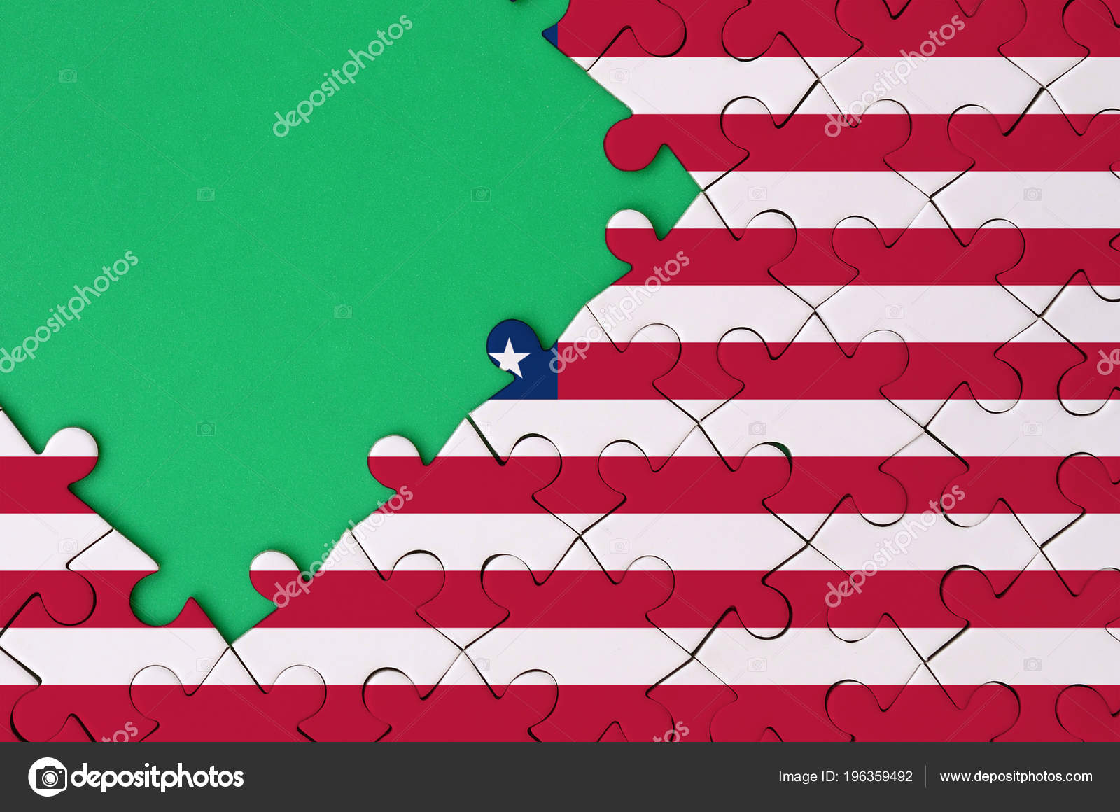 United States America Flag Depicted Completed Jigsaw Puzzle Free Green Stock P O
