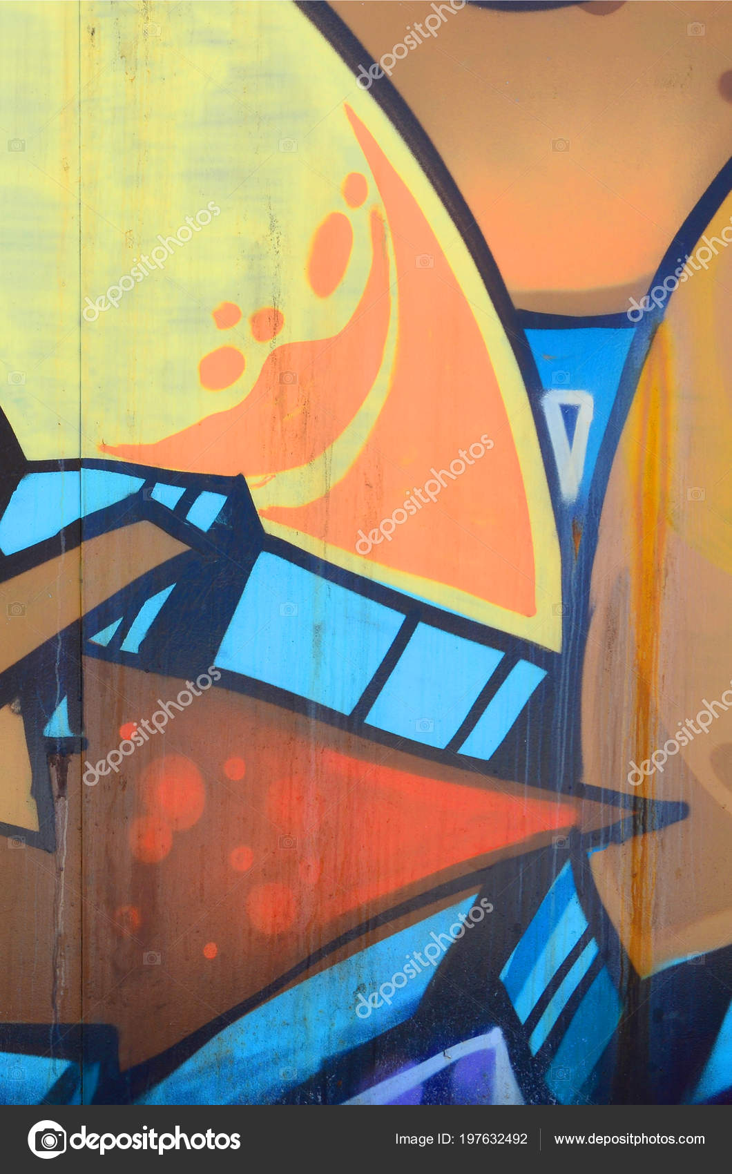 Street art abstract background image fragment colored graffiti painting beige stock photo