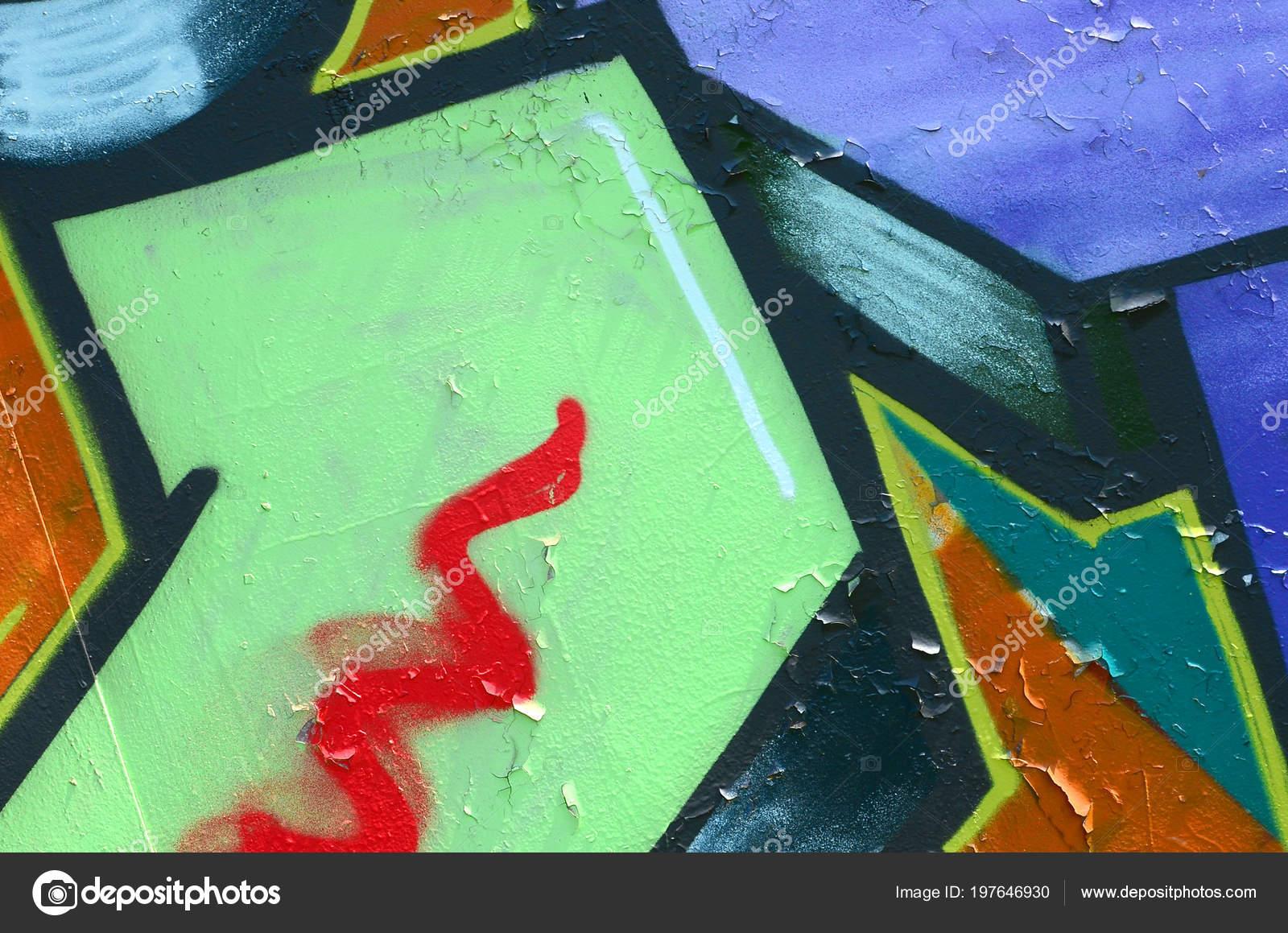 Arte Calle Imagen Fondo Abstracto Fragmento Una Pintura Graffiti ...