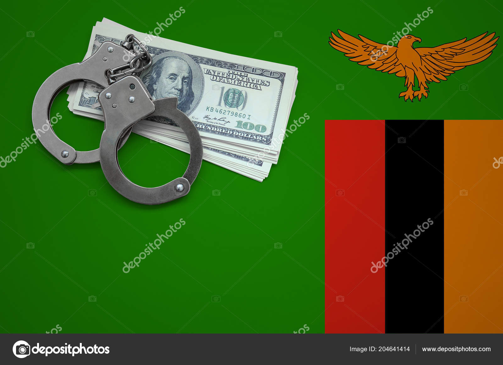 Zambia Flag Handcuffs Bundle Dollars Concept Breaking Law