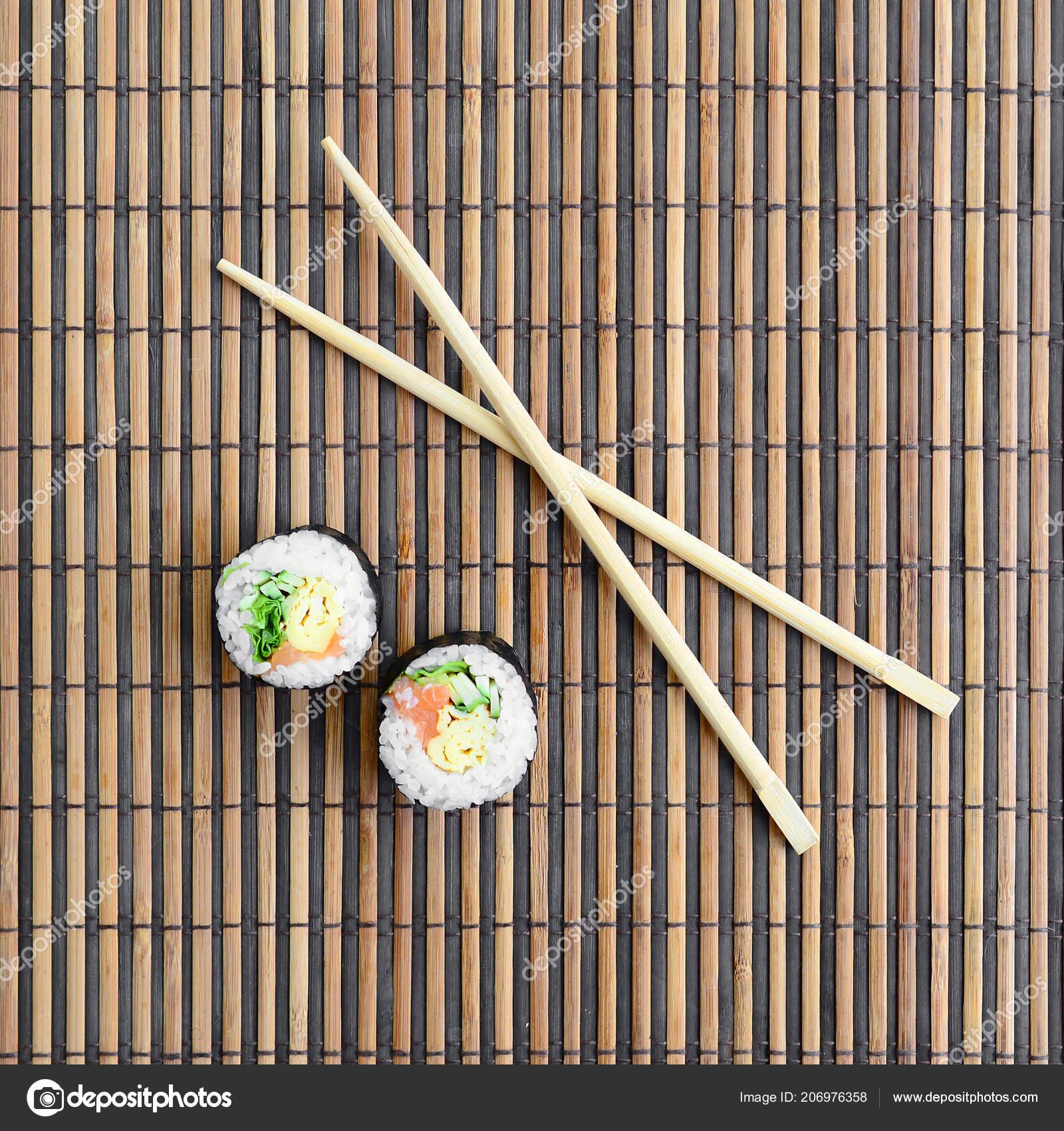 Sushi Rolls Wooden Chopsticks Lie Bamboo Straw Serwing Mat