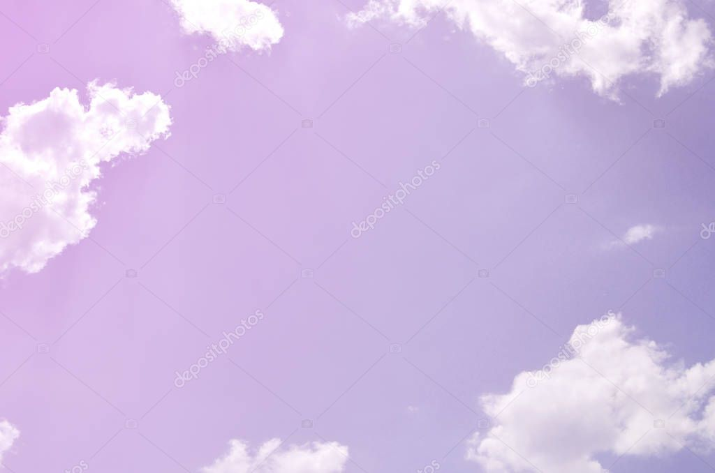 Image of clear blue sky and white clouds on day time for background usage