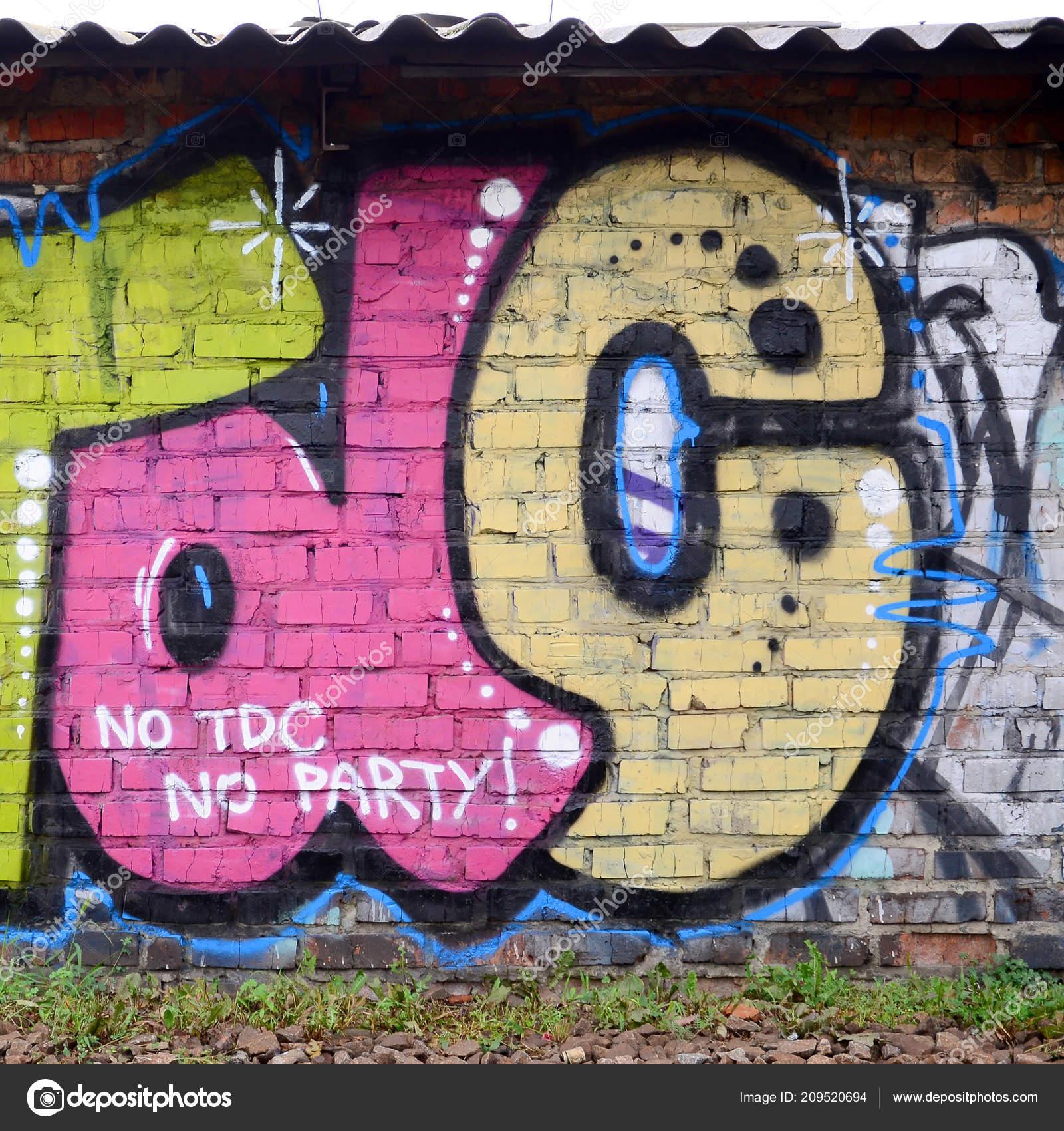 Frammento Disegni Graffiti Vecchia Parete Decorata Con Macchie