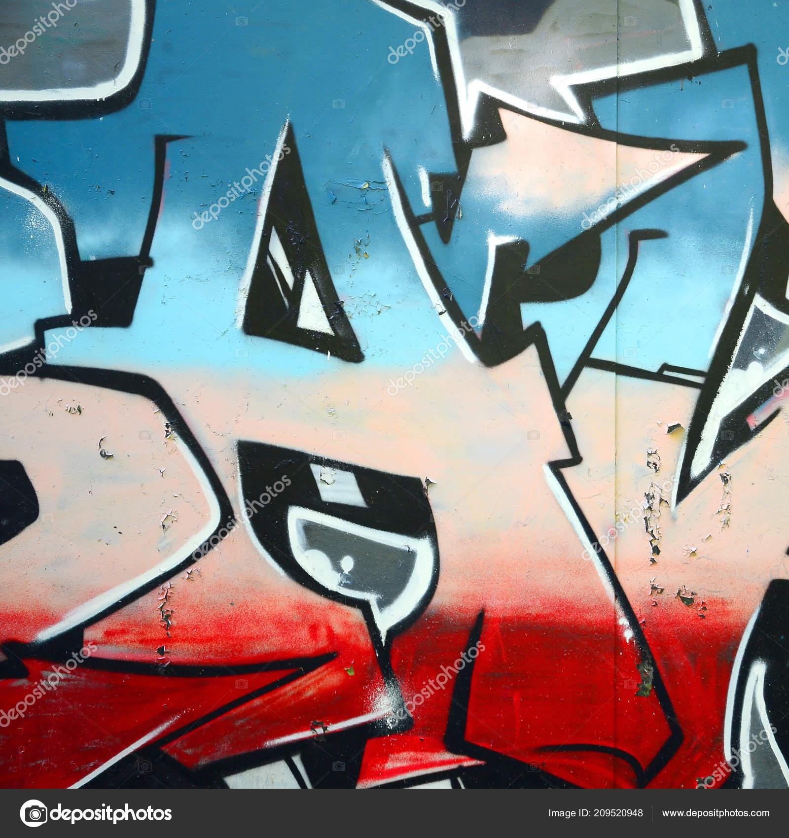 Fragmento Desenhos Grafite Velho Muro Decorado Com Manchas