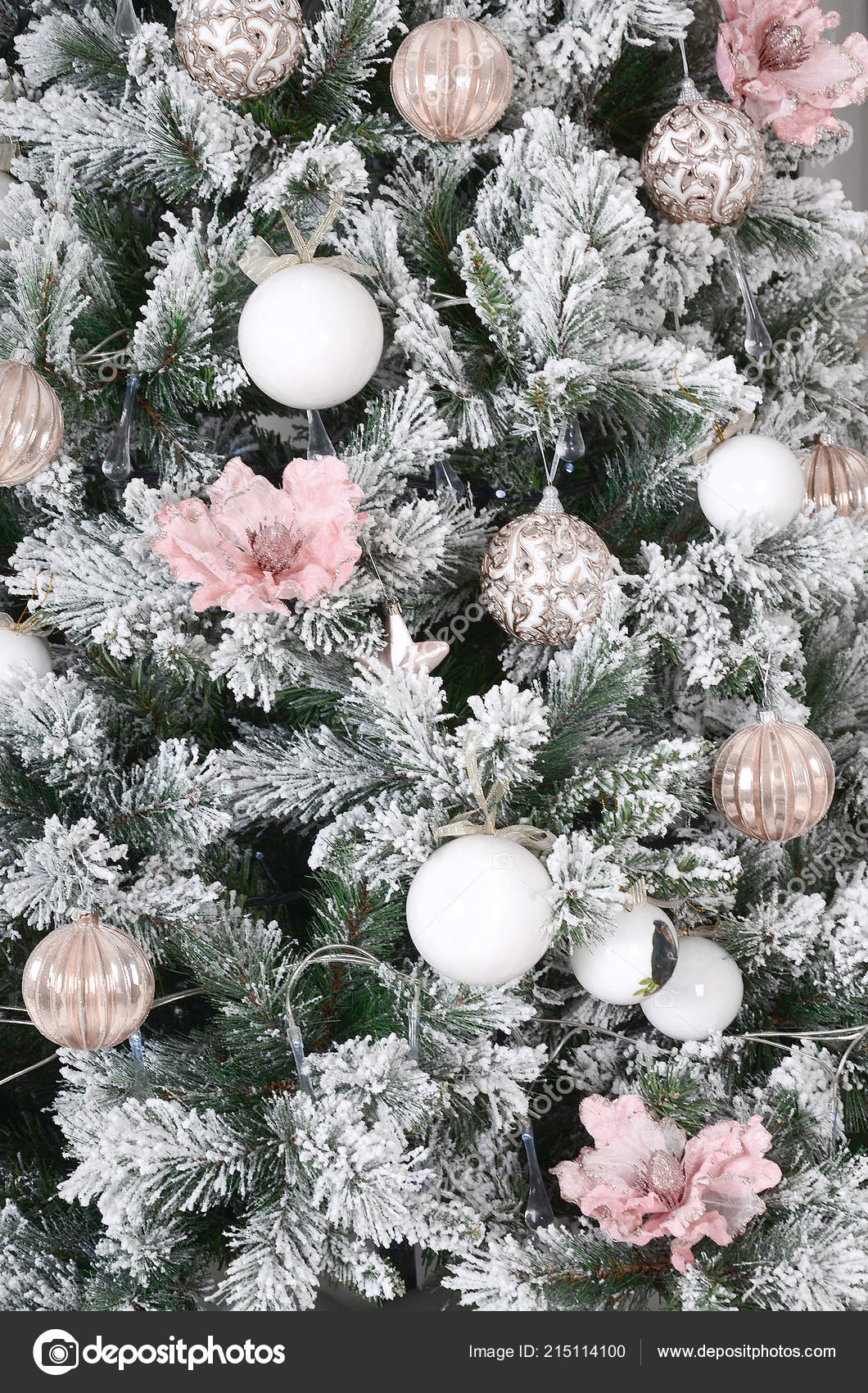Decorating Christmas Tree Close Decoration Bulb Snowy Green Fir Tree Stock Photo Image By C Mehaniq 215114100